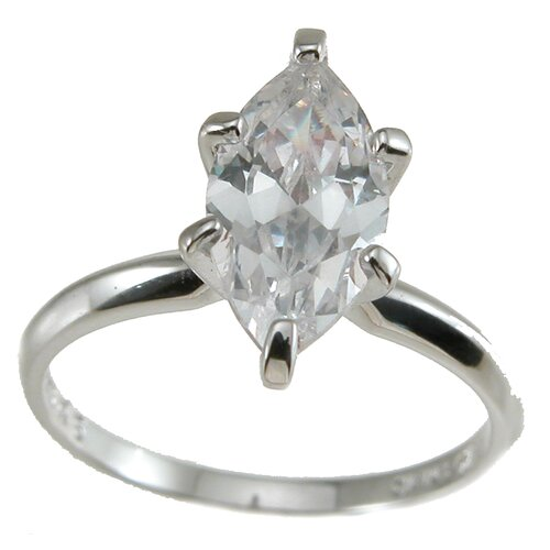 Plutus Partners .925 Sterling Silver Marquise Cut Cubic Zirconia Solitaire Wedding Ring