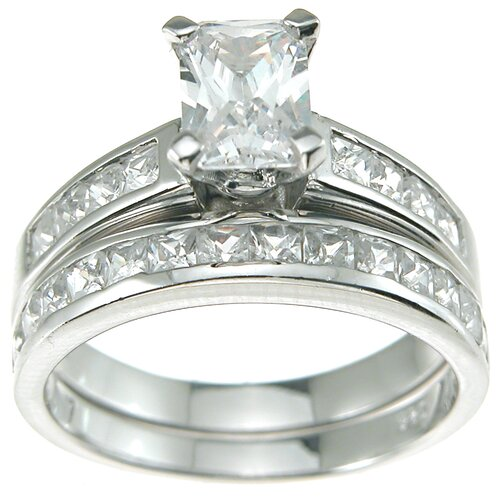 Plutus Partners .925 Sterling Silver Emerald Cut Cubic Zirconia Solitaire Engagement Ring Set