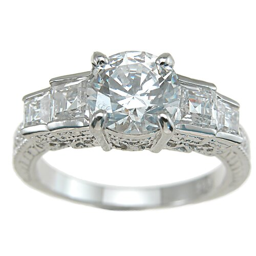 Plutus Partners .925 Sterling Silver Brilliant Cut Cubic Zirconia Engagement Ring