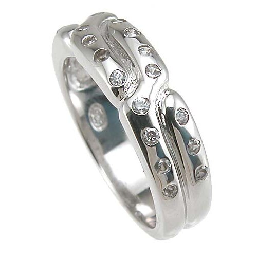 Plutus Partners .925 Sterling Silver Brilliant Cut Cubic Zirconia Anniversary Band
