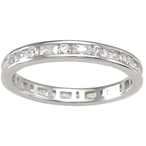 Plutus Partners .925 Sterling Silver Brilliant Cut Cubic Zirconia Eternity Ring