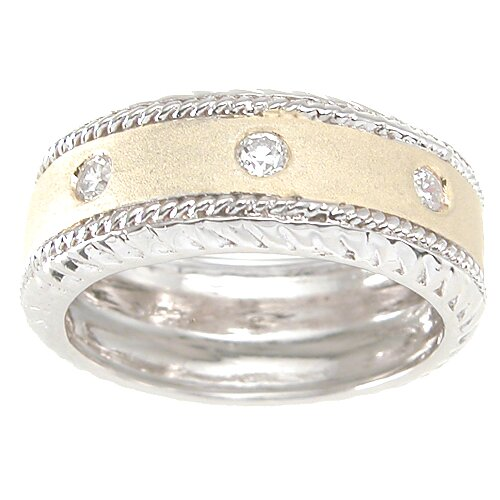Men's .925 Sterling Silver Brilliant Cut Cubic Zirconia Wedding Band