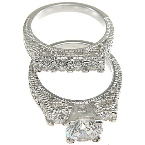 Plutus Partners .925 Sterling Silver Brilliant Cut Cubic Zirconia Wedding Ring Set