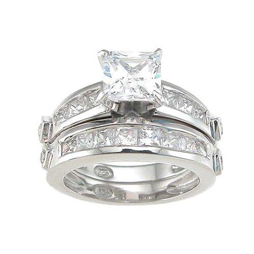 .925 Sterling Silver Princess Cut Cubic Zirconia Wedding Ring Set