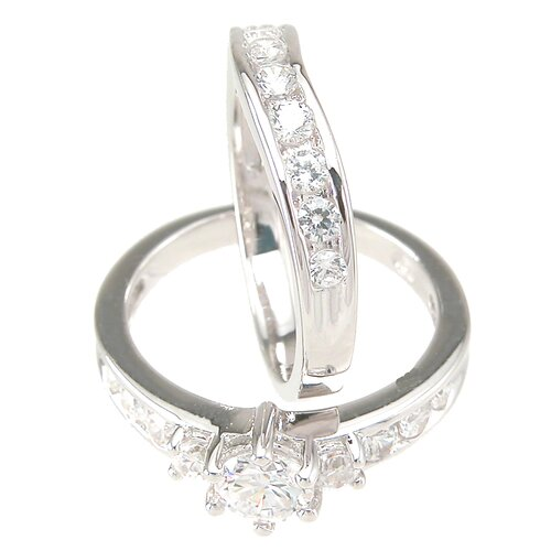 Plutus Partners .925 Sterling Silver Brilliant Cubic Zirconia Wedding Ring Set