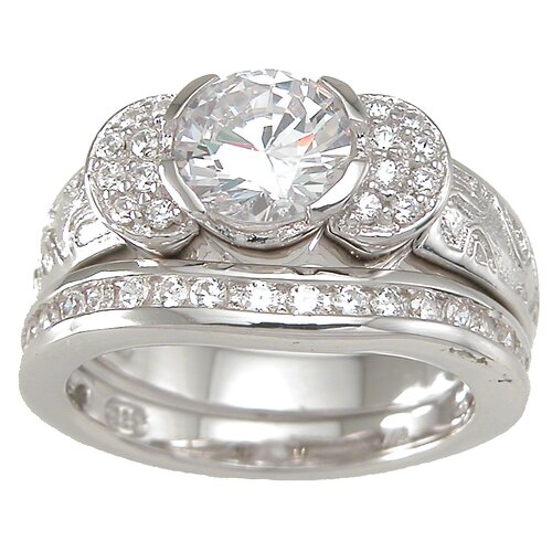 .925 Sterling Silver Brilliant Cut Cubic Zirconia Pave Wedding Ring Set