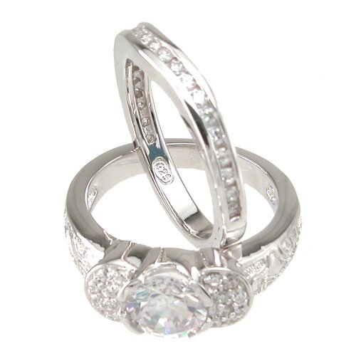 Plutus Partners .925 Sterling Silver Brilliant Cut Cubic Zirconia Pave Wedding Ring Set