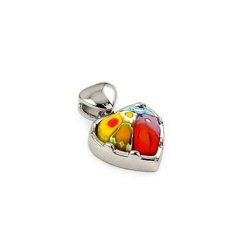 Sterling Silver Millefiori Glass Heart Pendant