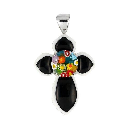 Sterling Silver Millacreli Glass Cross Pendant