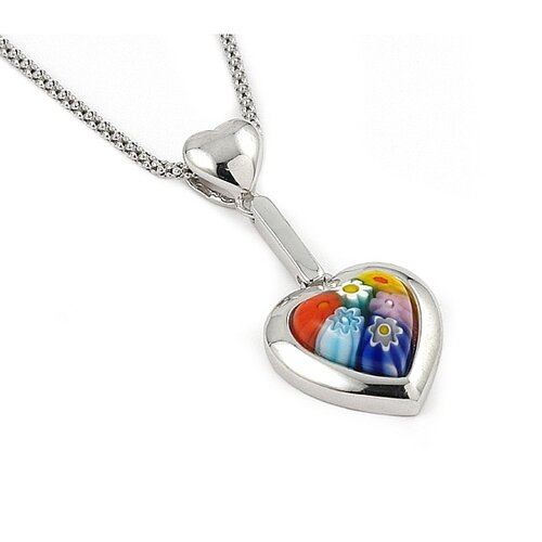 Sterling Silver Millefiori Glass Necklace