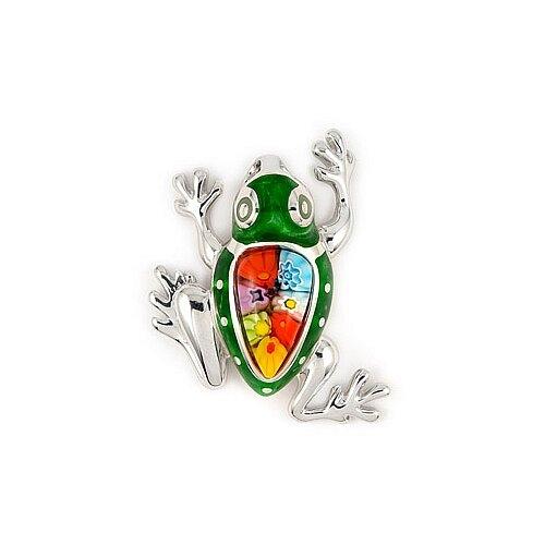 Plutus Partners Sterling Silver Millacreli Glass Frog Pendant