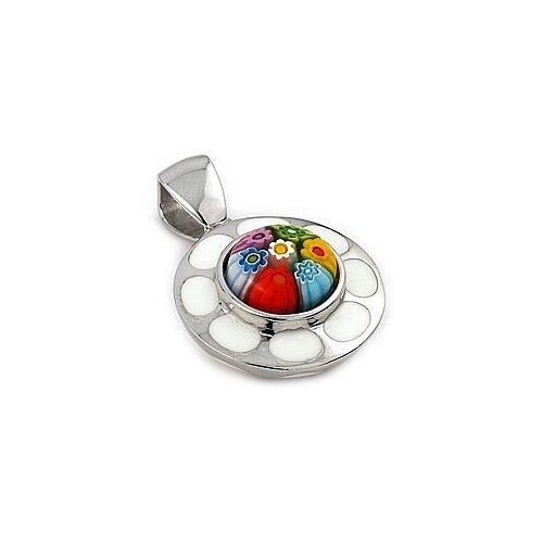 Sterling Silver Millacreli Glass Flower Pendant
