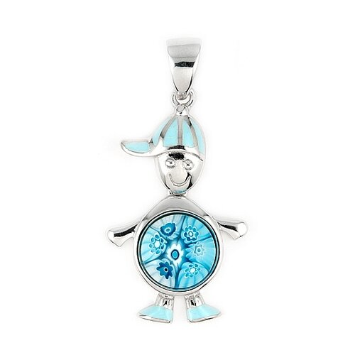 Plutus Partners Sterling Silver Millefiori Glass Boy with Dangling Round Body Pendant