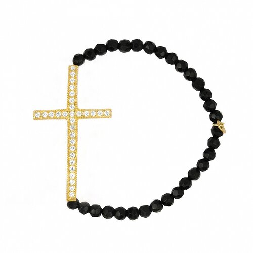 Cubic Zirconia Cross and Onyx Beads Strand Bracelet