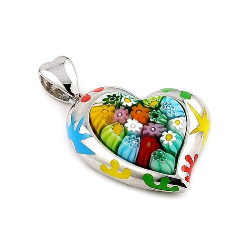 Plutus Partners Sterling Silver Millefiori Glass Curved Heart Pendant