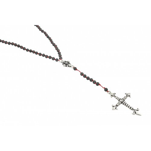 Twisted Blade Silver Rosary Necklace