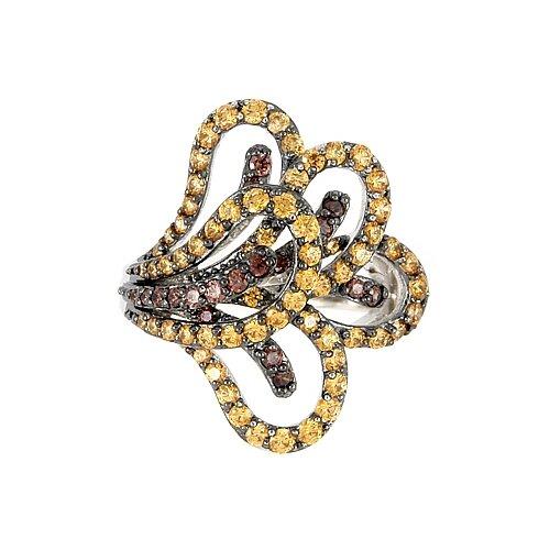 Ferroni Sterling Silver Swarovski Elements Zirconia Flowerette Ring