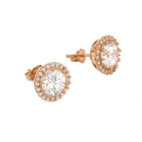 Round Cut Cubic Zirconia Stud Earrings