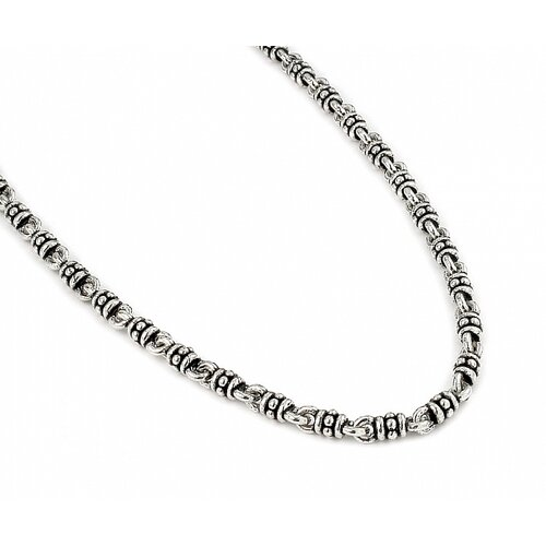 Twisted Blade Silver Studded Link Necklace