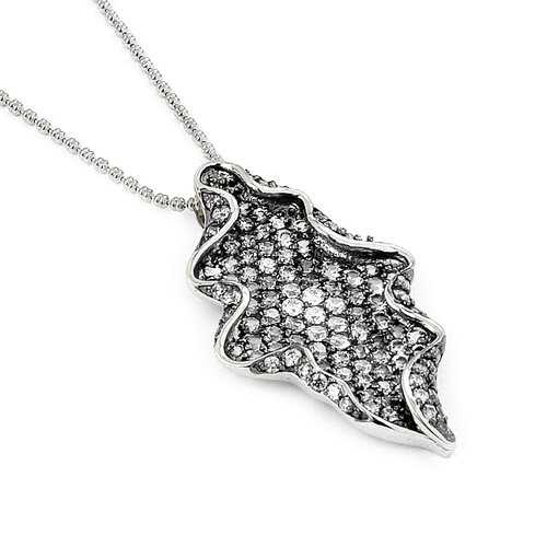 Ferroni Sterling Silver Swarovski Elements Zirconia Freeform Necklace