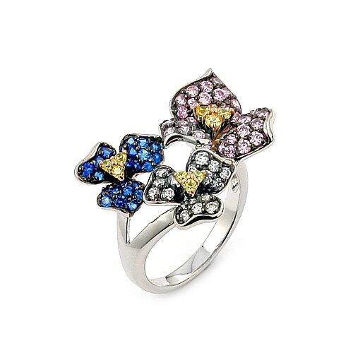 Ferroni Sterling Silver Swarovski Elements Zirconia Flower Ring
