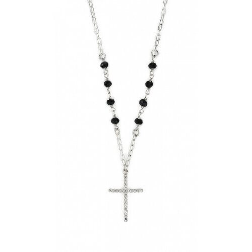 Sterling Silver and Cubic Zirconia Cross Rosary Necklace