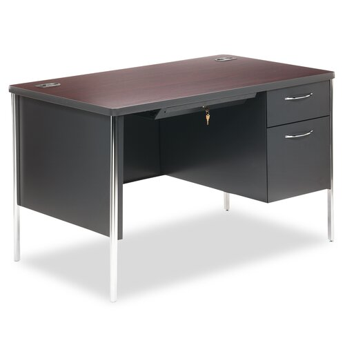 HON Mentor Series Computer Desk with Single Pedestal Desk