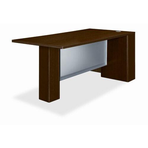 HON Attune Series Computer Desk with Right Pedestal Credenza with 2 Drawers