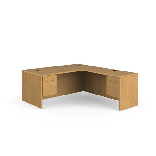 HON 10500 Series L-Shaped Executive Desk with Stack on Storage
