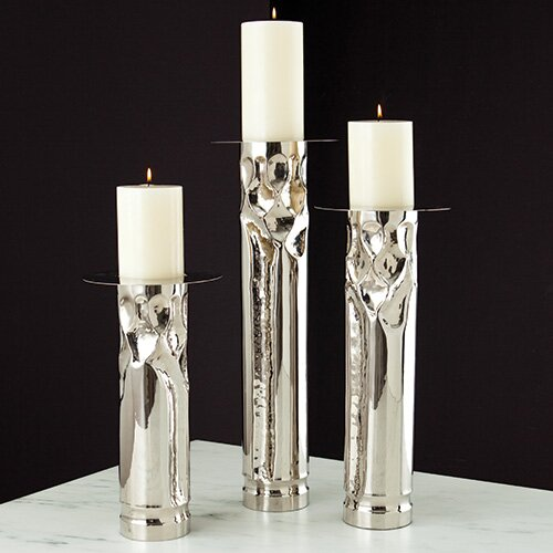 Global Views Arts and Crafts Nickel Candle Holder