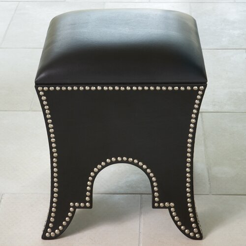 Global Views Leather Ottoman