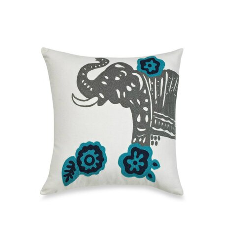 Vue by Ellery Coriander Cotton Elephant Embroidered Decorative Pillow