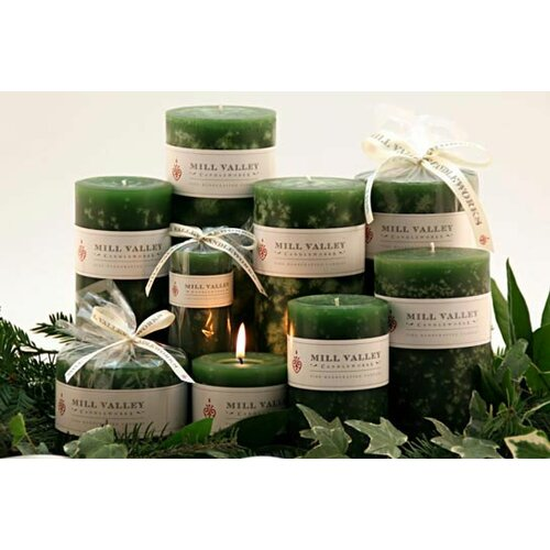 Evergreen Scented Pillar Candles (Set of 3)