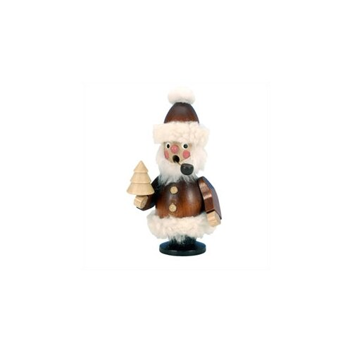 Christian Ulbricht Natural Wood Santa with Pipe Incense Burner