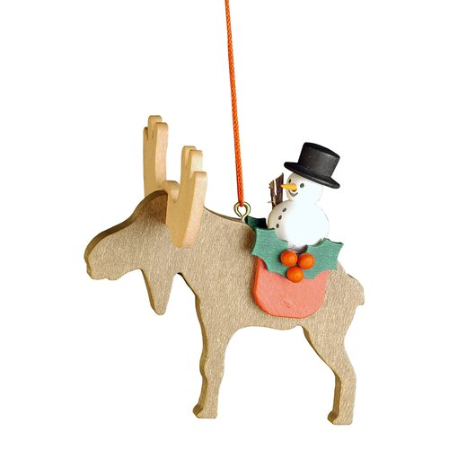 Christian Ulbricht Elk with Snowman Ornament