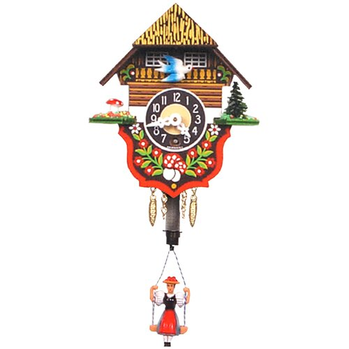 Swinging Girl Chalet Carved Wall Clock