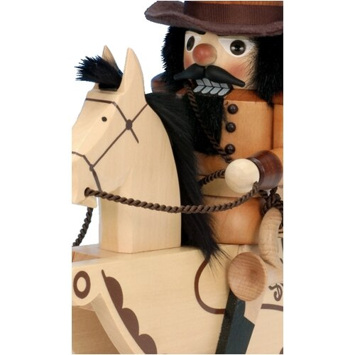 Alexander Taron Ulbricht / Seiffener Nussknackerhaus Postilion Nutcracker on Horse Back in Natural Wood