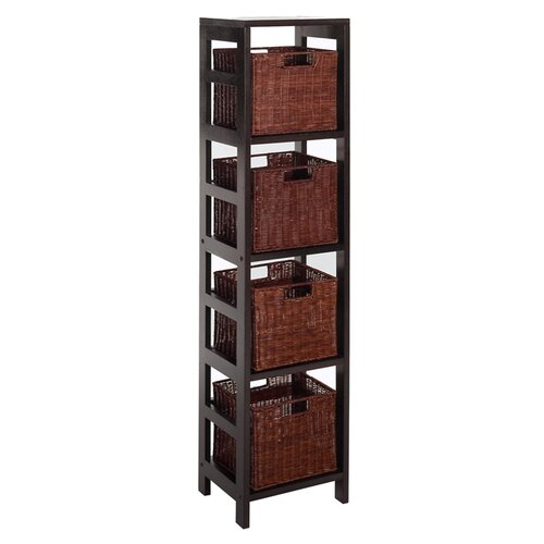 Espresso 4 Section Storage Shelf and Baskets