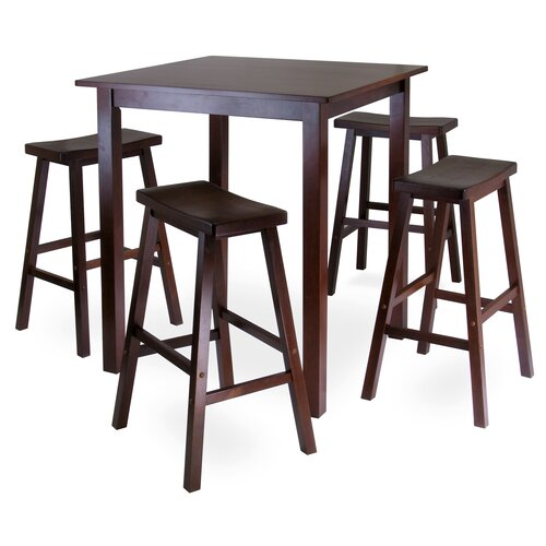 Parkland 5 Piece Dining Table with 4 Saddle Seat Stools