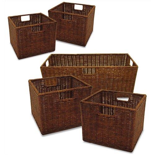 Winsome Set of 3 Walnut Storage Baskets