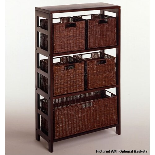 Espresso Wide 3 Section Storage Shelf