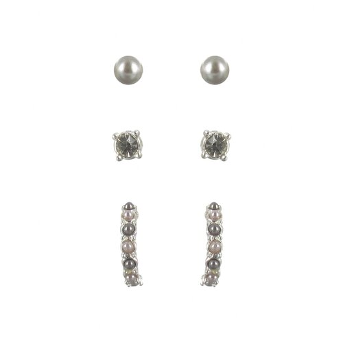 Roman Cultured Pearl Crystal Stud and Half Hoop Trio Earrings