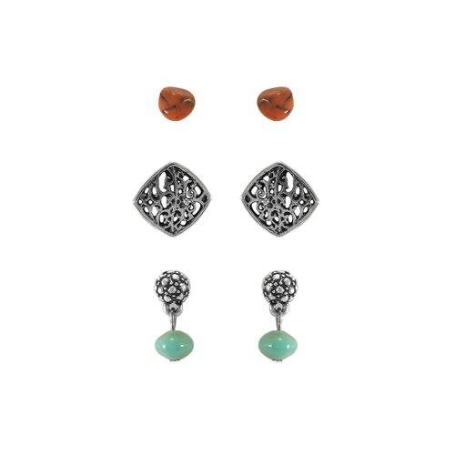 Artisan Square Filigree Bead Stud Earring