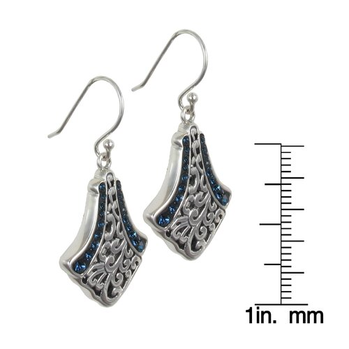 Sunstone Bali Bling Sterling Silver Crystal Pave Teardrop Filigree Earrings