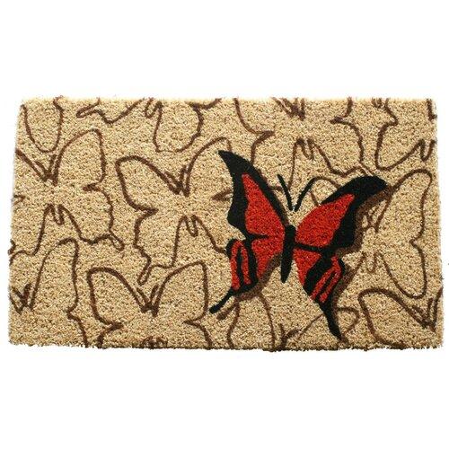 Entryways Orange Butterfly Handwoven Coconut Fiber Doormat