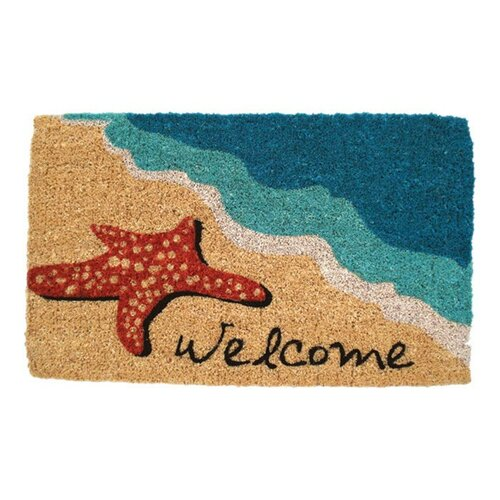 Entryways Starfish Welcome Handwoven Coconut Fiber Doormat