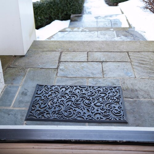 Entryways Recycled Scroll Flowers Doormat