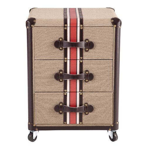 Traveler's Striped 3 Drawer Chest