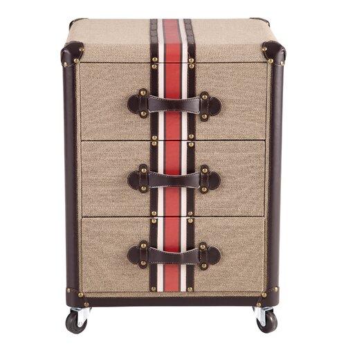 Traveler's Striped 3 Drawer Chest
