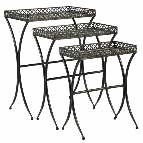 Bombay Heritage Script Mirrored Glass 3 Piece Nesting Table Trio